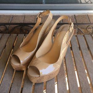 Gianni Bini Nude Patent Leather Wedges
